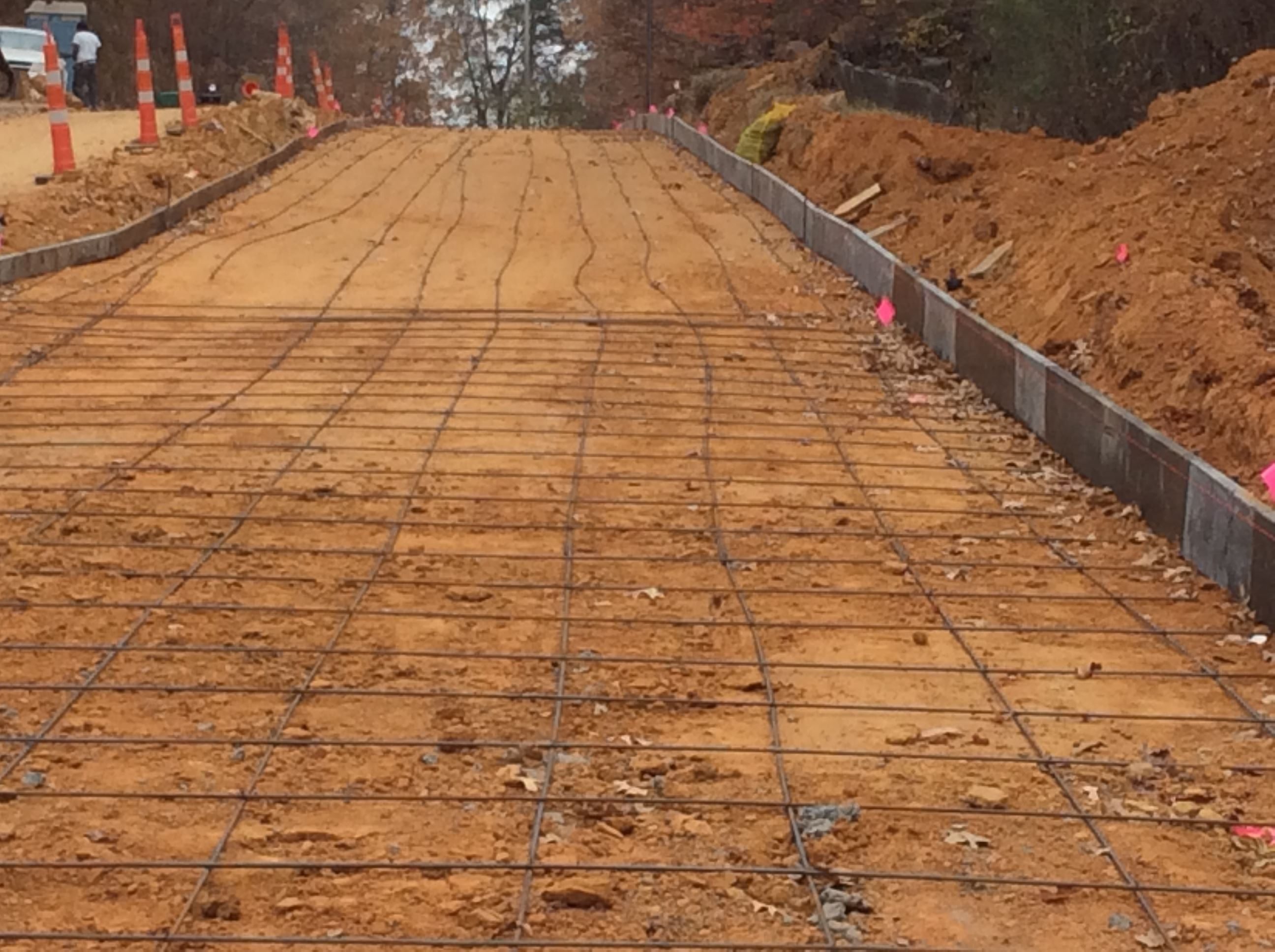 Metal wiring outlining where road will be paved
